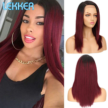Wigs Human-Hair Lace Part Pre-Plucked Long-Colored Straight Women Lekker for Black Root
