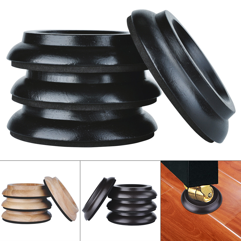4pcs Solid Wood Vertical Piano Mats Foot Caster Cups Soundproof Shockproof And Moistureproof With EVA Mat Black / Wood / Brown