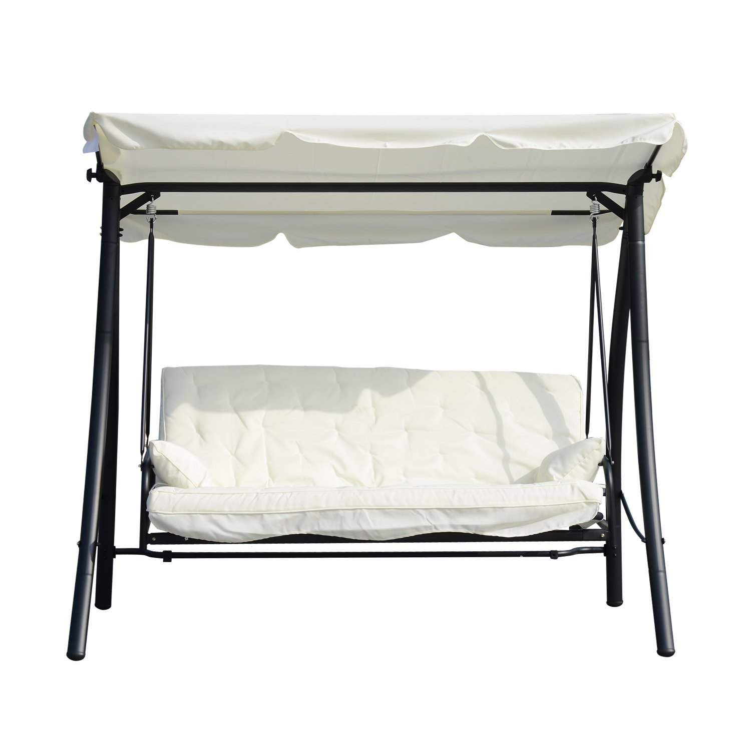 Outsunny Rocking 3 Reclining Seats With Roof Transformable Polyester Garden Bed 200x125x170 Cm Cream