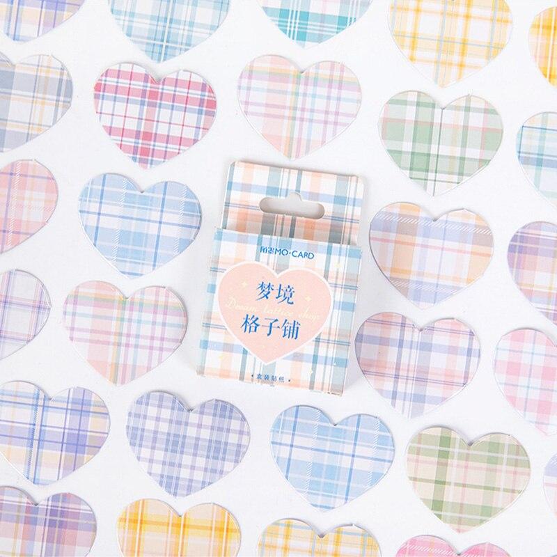 Милая серия наклеек в виде сердца в клетку Kawaii Канцтовары Скрапбукинг Украшение для дневника «сделай сам» цилиндрический журнал альбом