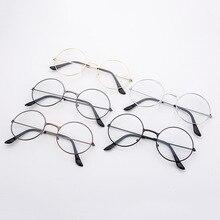 3 цвета, новинка, мужские и женские ретро большие круглые очки, прозрачная металлическая оправа для очков, черные, серебристые, Золотые очки