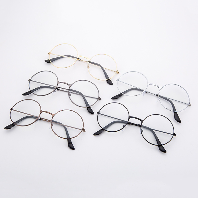 New Man Woman Retro Large Round Glasses Transparent Metal Eyeglass Frame  Oversized Round Circle Eye Glasse Hot