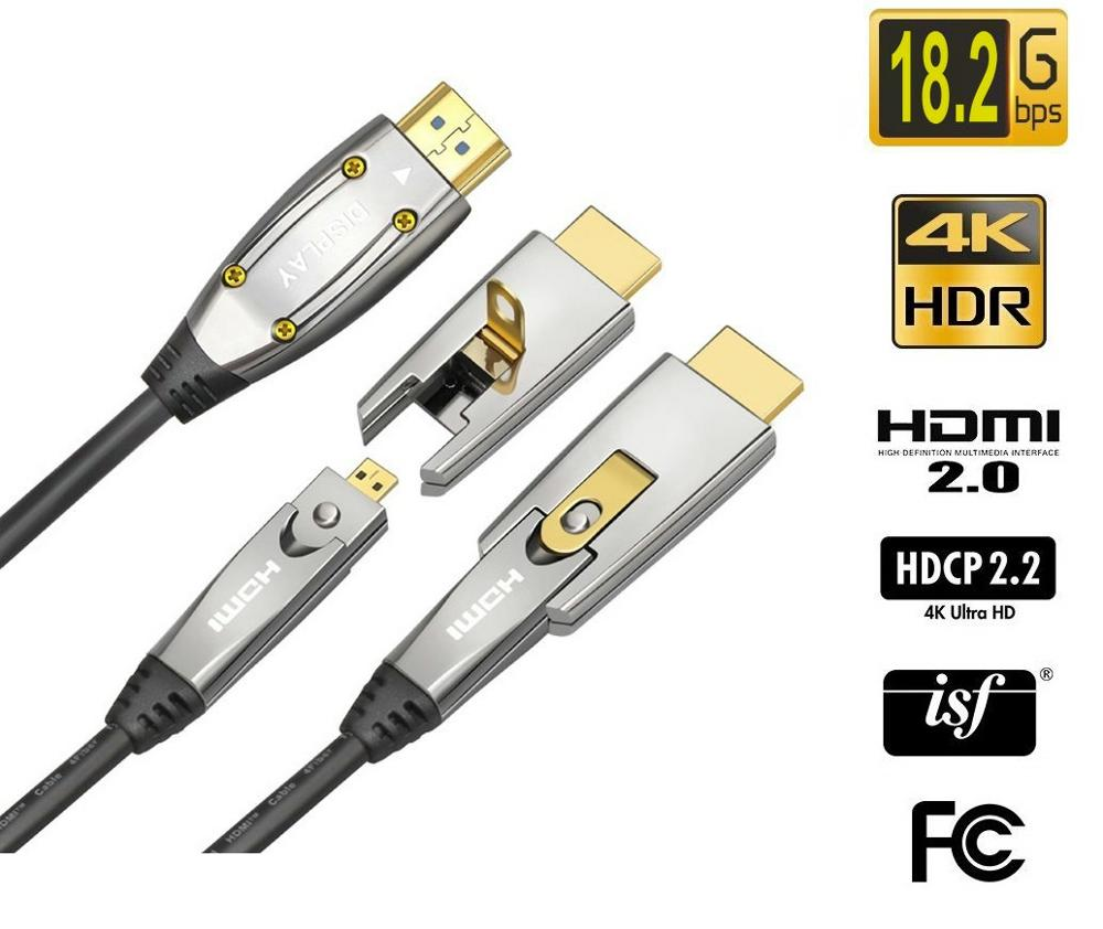 6M  AOC HDMI Fiber Optic Cable 18Gbps High Speed 4K60HZ, with Small Micro and Standard HDMI Connectors,Easy to Pipe Routing