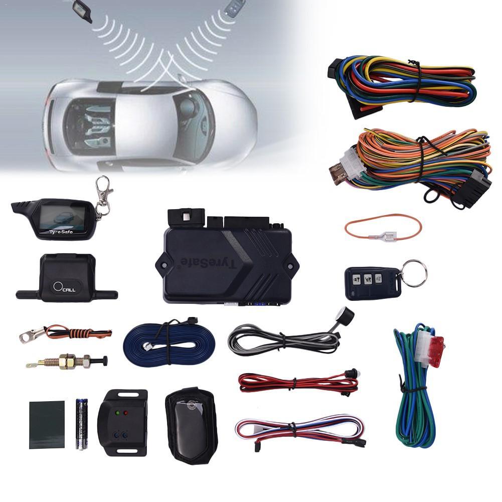 Version russe et anglaise système d'alarme de voiture bidirectionnel alarme antivol télécommande avec système d'alarme de démarrage TYRESAFE B9