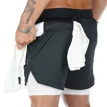 2020 letnie męskie szorty do biegania 2 w 1 bieganie trening Fitness szybko schnące szorty spodnie męskie sportowe szorty na siłownię z pętelką na ręczniki tanie tanio KILYLOLY Poliester spandex Pasuje prawda na wymiar weź swój normalny rozmiar MTR-2002 Kamuflaż Men s gym shorts 95 Polyester + 5 Spandex