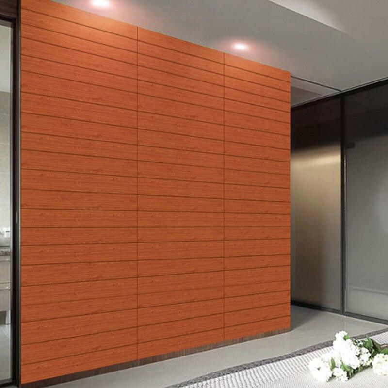 Image 5 - 3D en bois autocollant mural salon décor à la maison PE mousse  imperméable revêtement mural papier peint pour fond TV chambre denfants  60*60cmStickers muraux