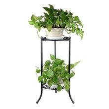 Shelf Garden Stand Flower-Tray Plant-Pot Patio 2-Holder Metal Home-Decoration Black Outdoor