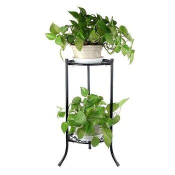 2 Holder Flower Stand Metal Plant Pot Stand Flower Display Shelf Garden Patio Home Outdoor Black Flower Tray Home Decoration 1