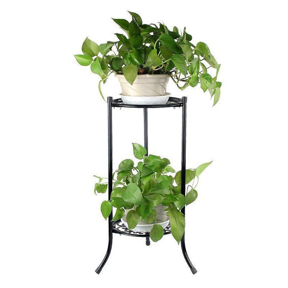 2 soportes de flores maceta de Metal para plantas soporte de flores estante de exhibición de flores jardín Patio casa al aire libre bandeja de flores negras decoración del hogar