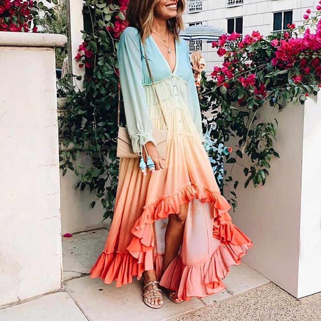 Womail robe à manches papillon mode femmes à manches longues col en v à une rangée bouton de luxe robe de plage 2019 automne robes femmes