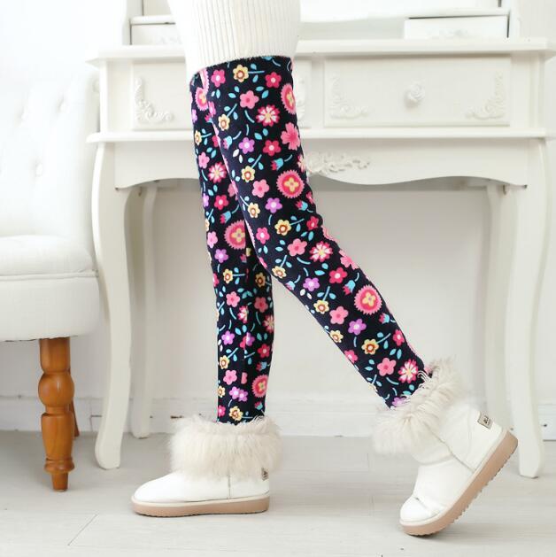 VEENIBEAR/осенне-зимние штаны для девочек, бархатные плотные теплые леггинсы для девочек, детские штаны, одежда для девочек на зиму, От 2 до 7 лет - Цвет: taiyanghua
