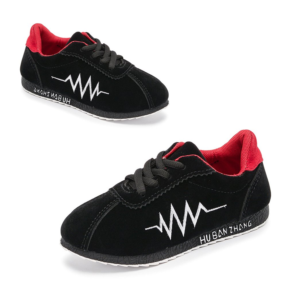 Children Shoes Boys Sneakers Anti-slip Lace-up Sports Shoes With Heart Beat Line Unisex Casual Breathable Kids Running Shoes Hot