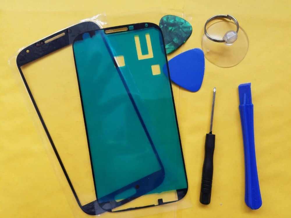 استبدال LCD تعمل باللمس الزجاج الأمامي الخارجي عدسة لسامسونج S4 i9500 I9505 S4 البسيطة i9190 + أدوات لاصقة