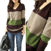 Autumn Winter Casual Sweater Women Stitching Cashmere Sweater V-neck Knitted Striped Pullovers Sweaters Women Clothing ronnykise knitted sweaters women fashion pullovers long sleeve sexy v neck casual tops autumn and winter cashmere sweater