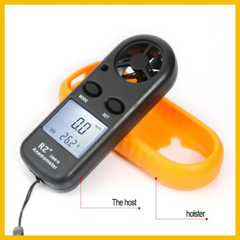 RZ – anémomètre Portable numérique portatif, jauge de vitesse du vent, 30 m/s, LCD, GM816 5