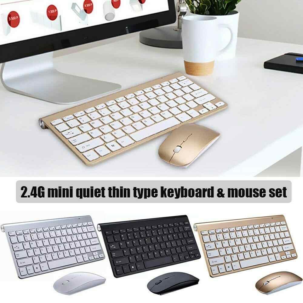 HobbyLane Mini Teclado e Mouse Sem Fio Conjunto de Teclado À Prova D' Água 2.4G para Apple Mac PC Computador Sem Fio com Mouse d29