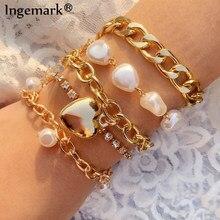Bracelet en chaîne de Tennis avec perles pour femme, style gothique, Punk, cubain, 5 pièces