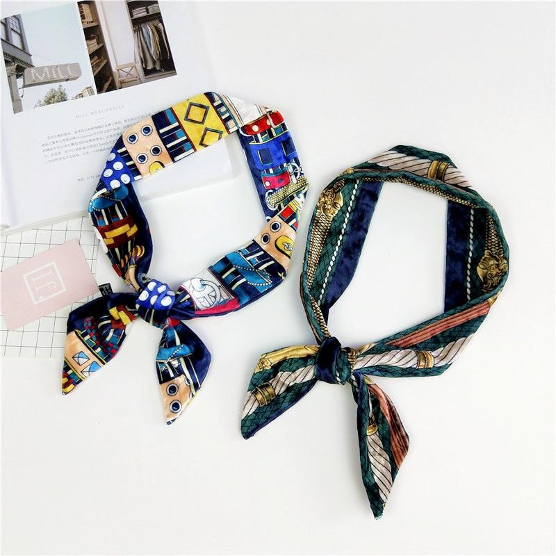 Small Ribbon Women's Decoration Cap Neckerchief Hair Band Versatile Strip Narrow Tied Wrist Bag Accessories Silk Scarves