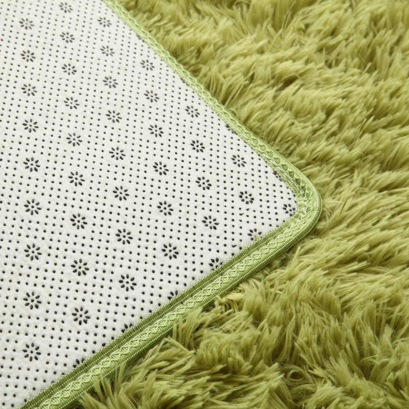 Nouveau 16 couleur lavé soie cheveux anti-dérapant tapis salon table basse couverture chambre chevet tapis yoga tapis solide couleur peluche