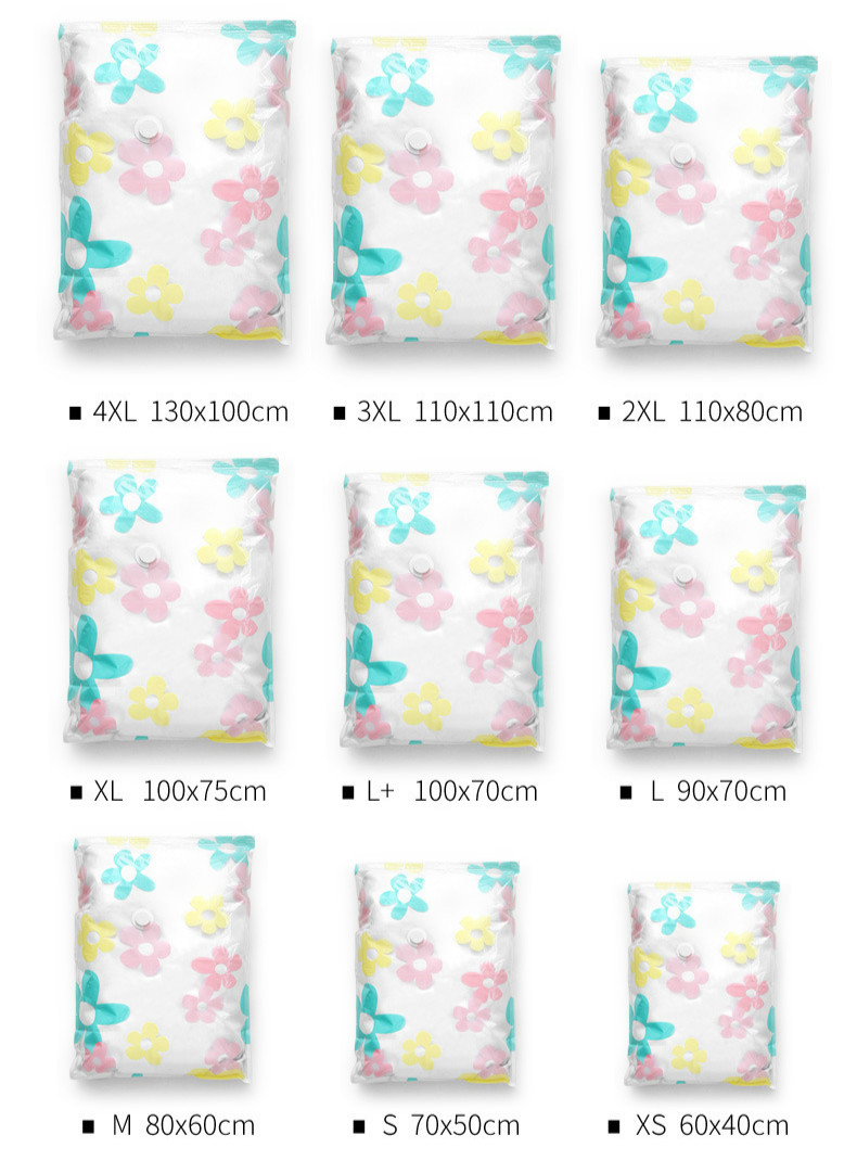 Sun Flower Vacuum Compression Bag With Large Hand Air Pump Vacuum Quilt Clothing Storage Bag Vacuum Bag