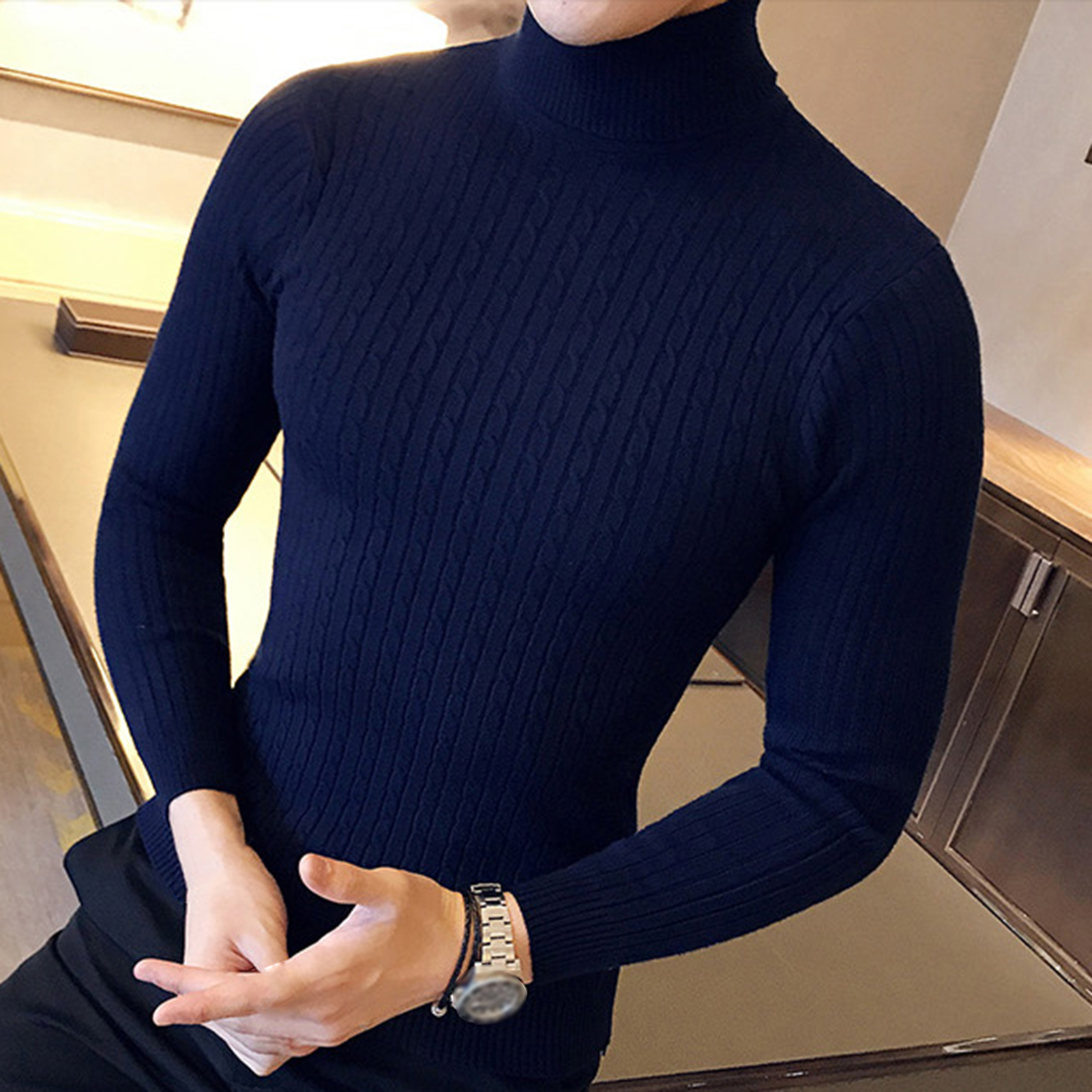 2020 New Autumn Winter Men'S sweater Men's Turtleneck Solid Color Casual Sweater Men's Slim-Fit Knitted Pullovers 4