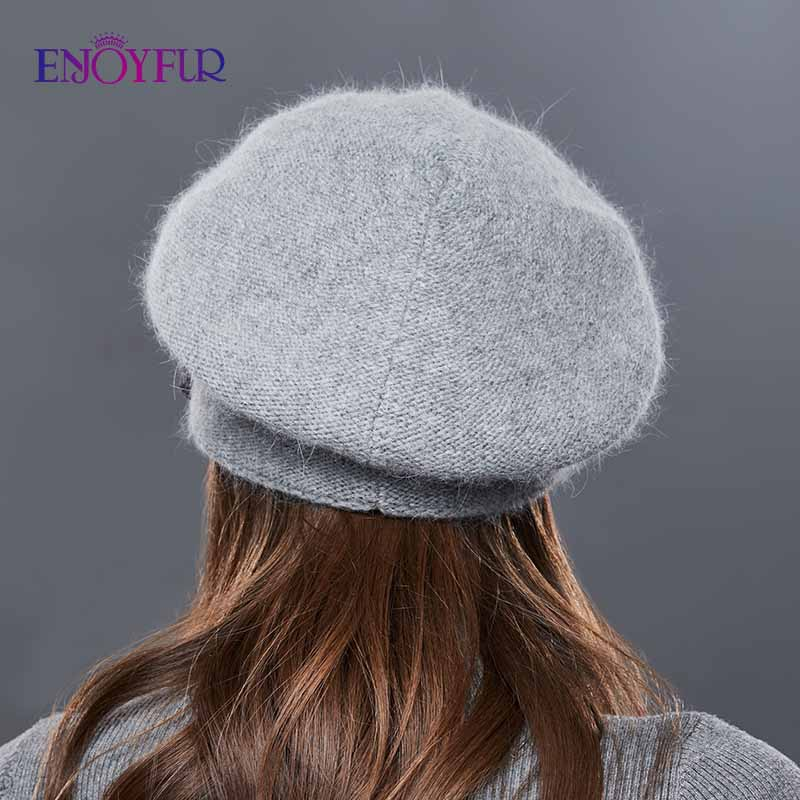 Image 4 - ENJOYFUR Rabbit Knitted Winter Hats For Women Cashmere Warm Beret Hat Female Flower Decoration Lady Middle Aged Cap-in Women's Berets from Apparel Accessories