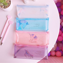 Unicorn Pencil Case Transparent Pencil Cases for Boy Girl PVC Rainbow Pen Bag School Supply Stationery Pouch Kawaii Pen Case недорого