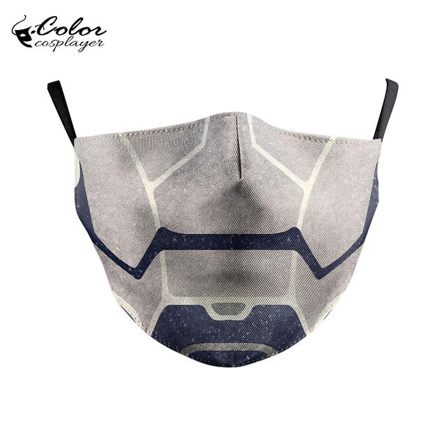 Color Cosplayer Super Hero Print Face Fabric Mask Cosplay Iron Man Masks Anti-fog Mouth Cover Mask Flu 4