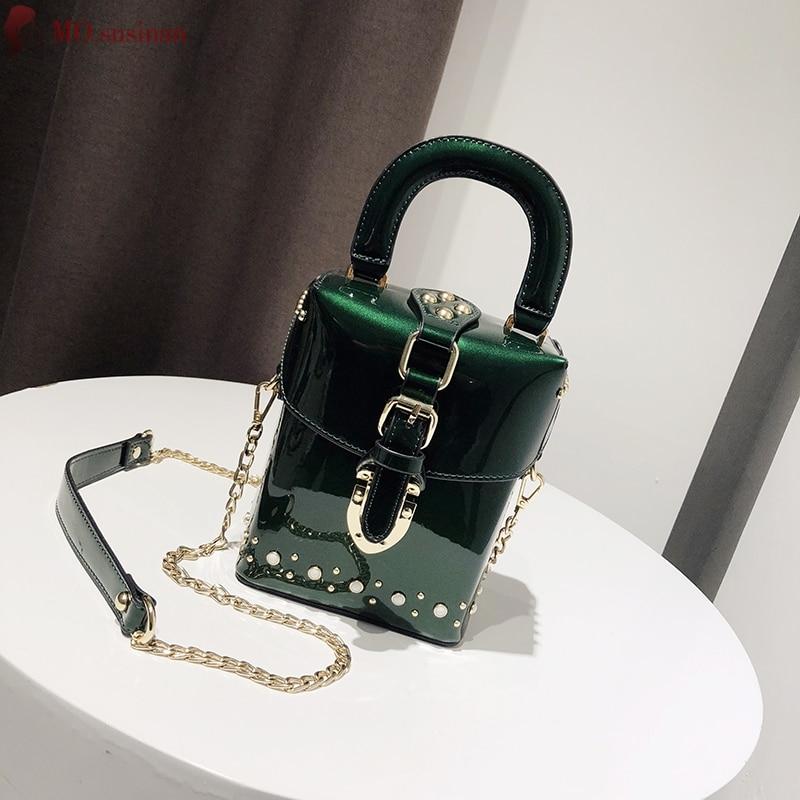 Luxury Women Bags Designer 2019 New High Quality Handbag Box Bag Fashion Chain Red Shoulder Crossbody Bag Ladies Mini Rivet Tote