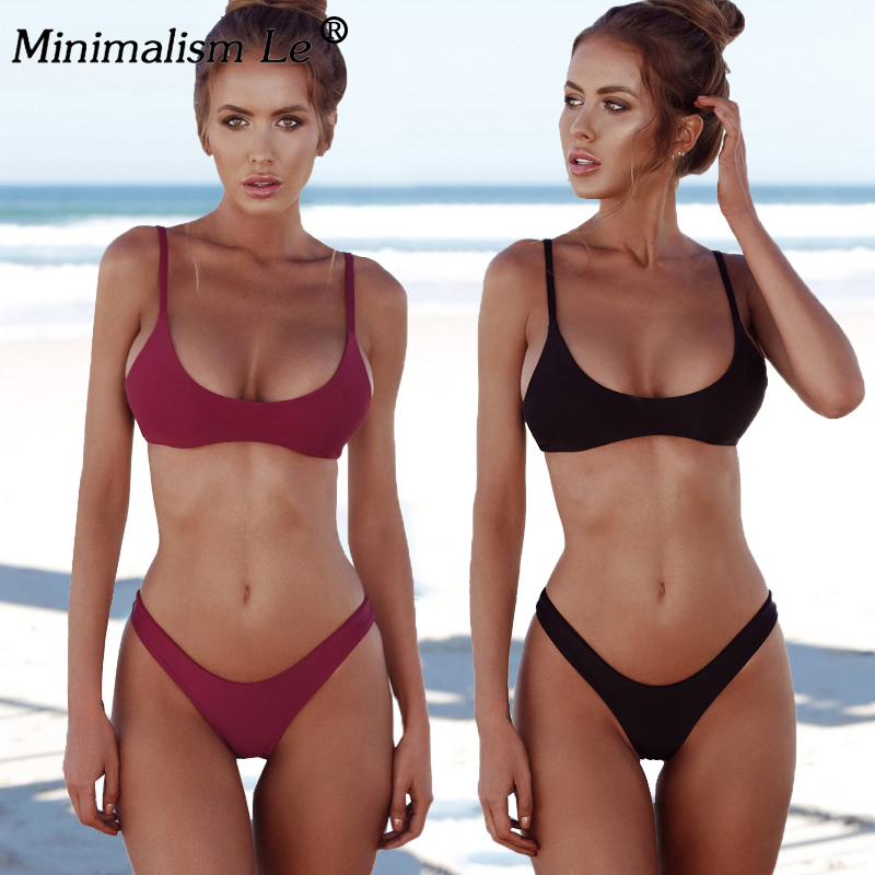 Sexy Solid Brazilian Bikinis Women High Cut Swimwear Low Waist Bathing Suit Tube Top Female Summer Halter Beach Wear Biquini