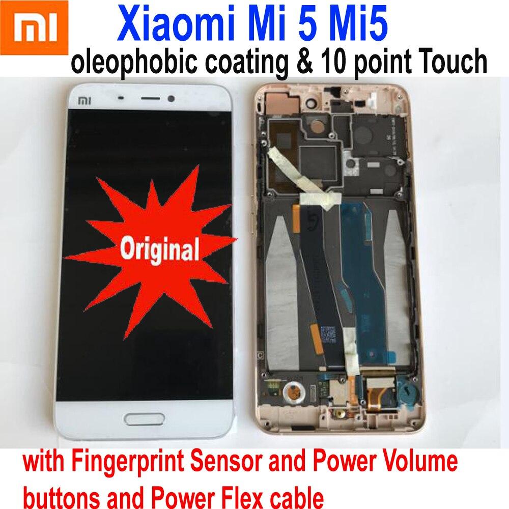 Original New Glass Sensor For Xiaomi 5 Mi 5 Mi5 M5 LCD Display Touch Panel Screen Digitizer Assembly With Frame + Fingerprint