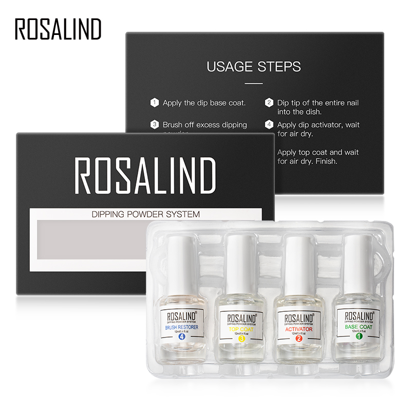 ROSALIND Nails Holographic Glitter Dip Powder Set For Nail Art Decorations All For Manicure Natural Dry Without Lamp Cure