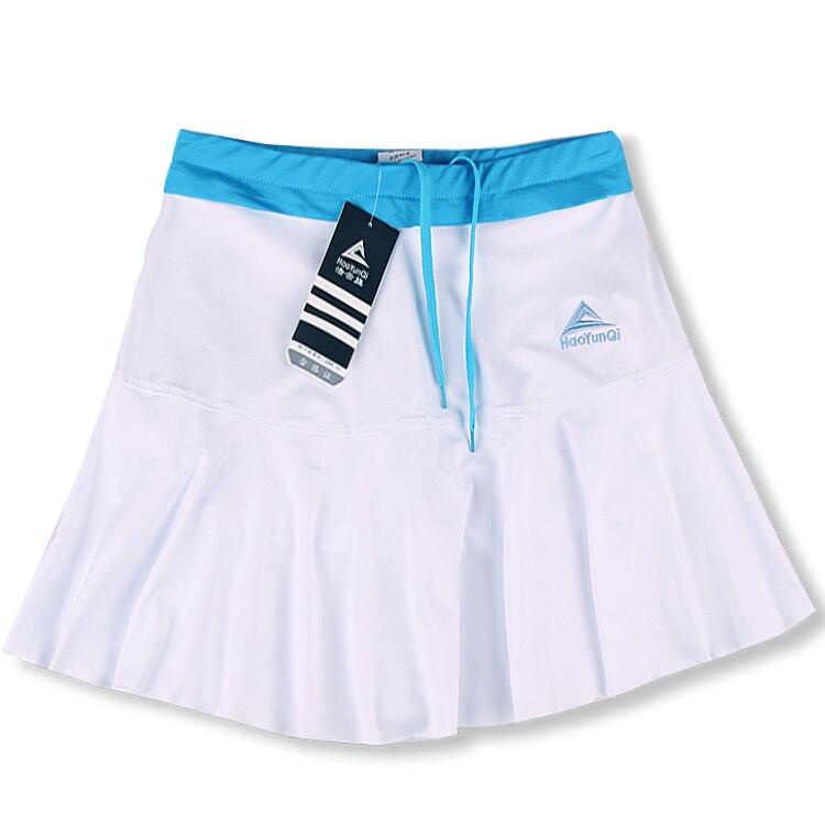 Женская Спортивная юбка весна лето тонкий анти-светильник Быстросохнущий дышащий пот Бег Фитнес стрейч шорты с шорты безопасности - Цвет: White