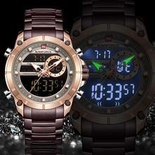 NAVIFORCE Männer Uhr Top Luxus Marke männer Sport Militär Uhren Voller Stahl Wasserdicht Quarz Digitale Uhr Relogio Masculino