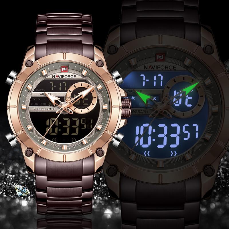 NAVIFORCE Men Watch Top Luxury Brand Men's Sports Military Watches Full Steel Waterproof Quartz Digital Clock Relogio Masculino|Quartz Watches| - AliExpress