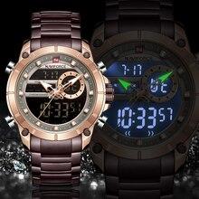 NAVIFORCE Reloj de marca de lujo para hombre, cronógrafos militares deportivos, de acero completo, resistente al agua, de cuarzo, Digital, Masculino