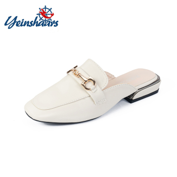 YEINSHAARS Leather Square Toe Slippers Shoes Heels Metal Decorationg Women Slides New Summer Woman Mules Ladies - discount item  34% OFF Women's Shoes