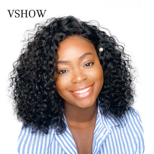 VSHOW 13X4 13x6 Water Wave Bob Wigs With Baby Hair Remy Short Bob Lace Front Human Hair Wig 150% 180% Transparent Lace Front Wig(China)