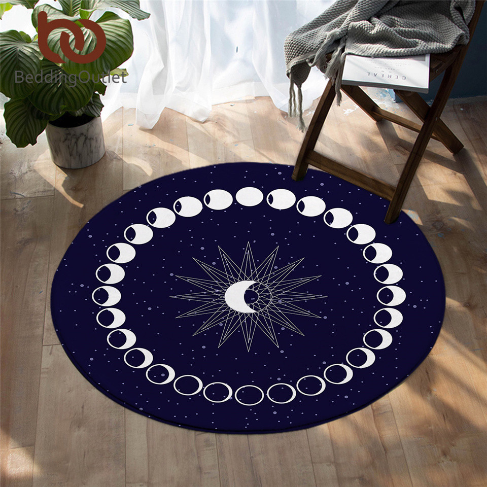BeddingOutlet Eclipse Round Carpet Moon Star Carpet For Living Room Galaxy Non-slip Mat Rugs Blue Decorative Floor Mat 150cm