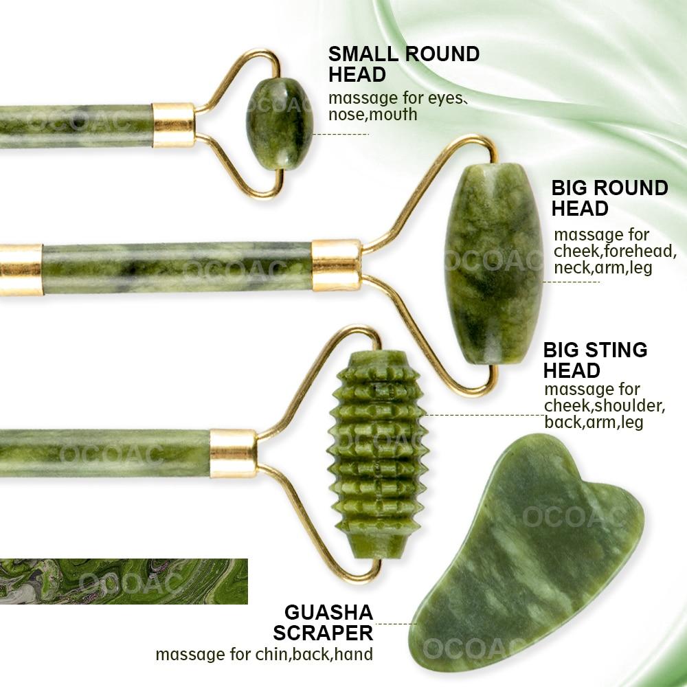 2pcs massageadores de jade para rosto corpo gua sha raspador beleza rolo facial conjunto de pedra natural guache massagem emagrecimento cuidados com a pele lift 4