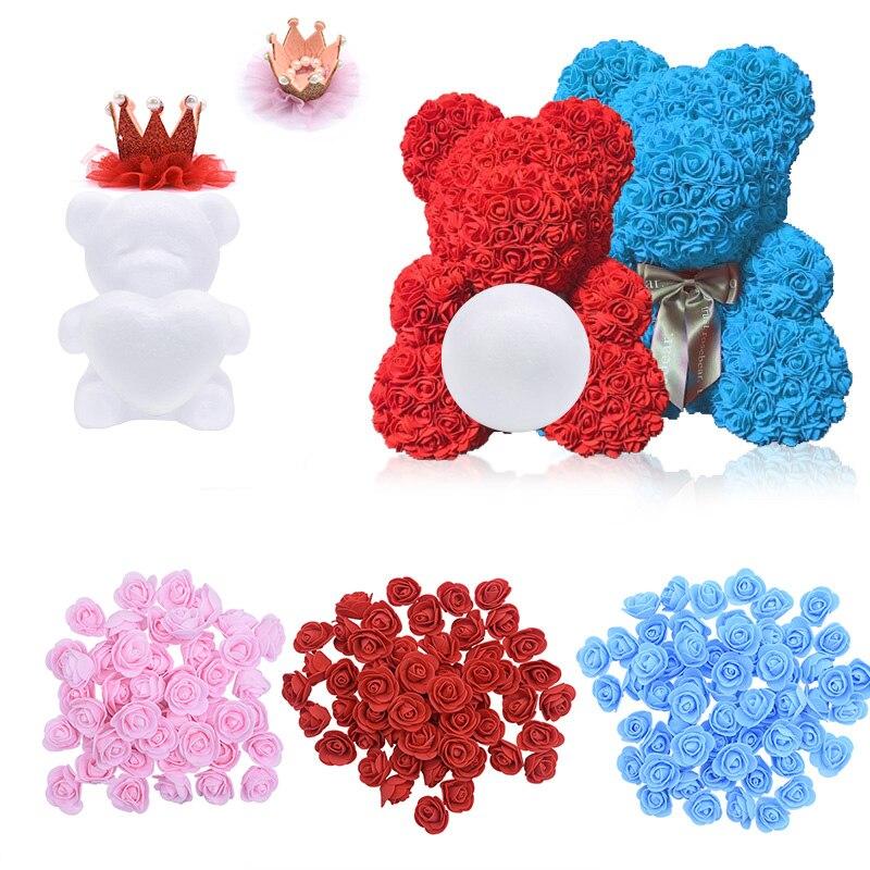 Modeling Flowers Rose Bear Styrofoam Foam Bear Rabbit Dog Foam Roses Flowers for DIY Christmas Party Decoration Valentines Gift