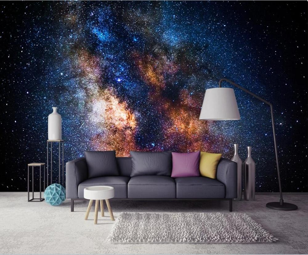 XUE SU Custom Wallpaper 3D Mural Creative Beautiful Galaxy Starry Spectacular Atmospheric Living Room Background Wall