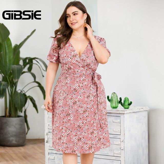 GIBSIE Plus Size Casual Floral Print Knee Length Wrap Dress Women Summer Fashion V-Neck Short Sleeve High Waist A-Line Dress