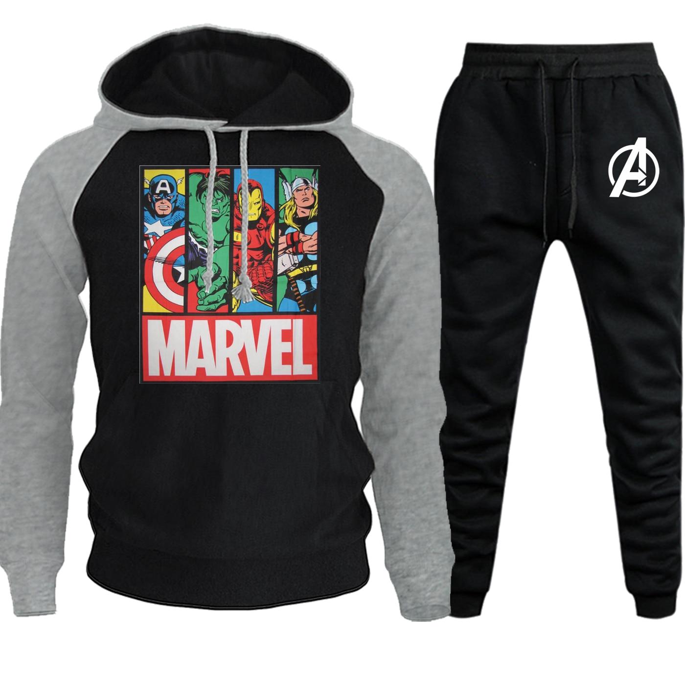 The Avengers Hoodies Fashion Raglan Men Streetwear Autumn Winter 2019 Casual Hooded Suit Male Fleece Hooded+Pants 2 Piece Set