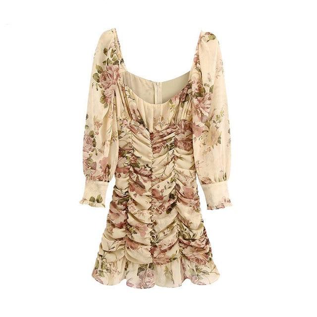 High Quality Women 2021 Fashion Floral Print Ruffled Draped Mini Dress Vintage Lantern Sleeve Back Zipper Female Dresses Vestido 1