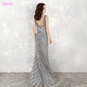 Image 2 - 2020 New Arrival Elegant V Neck Gray Long Evening Dresses Mermaid Sequined Beads Dress Party Evening Gowns