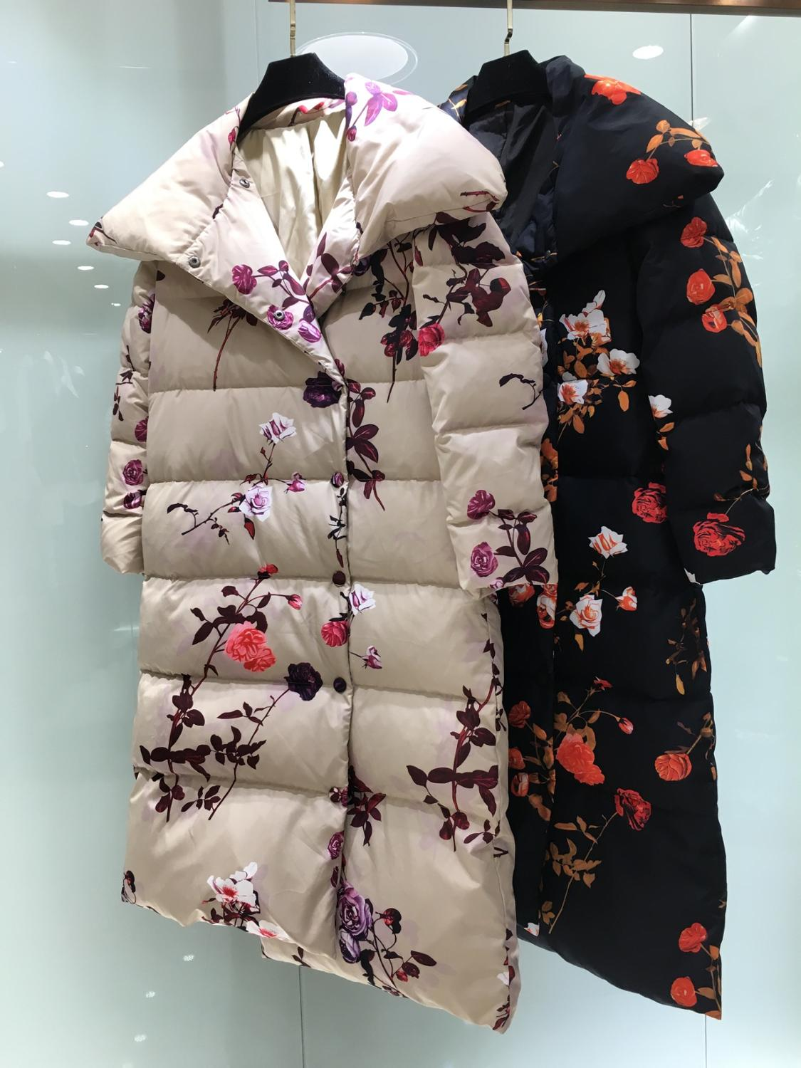 2019 Winter Jacket Women Down Jackets Women's Long Down Coat Flower Ornament Down Outerwear Brand Coat Famous Cat Show