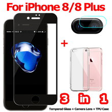 3-in-1 Tempered Glass for iPhone 8 Plus Camera 8Plus Screen Protector Film