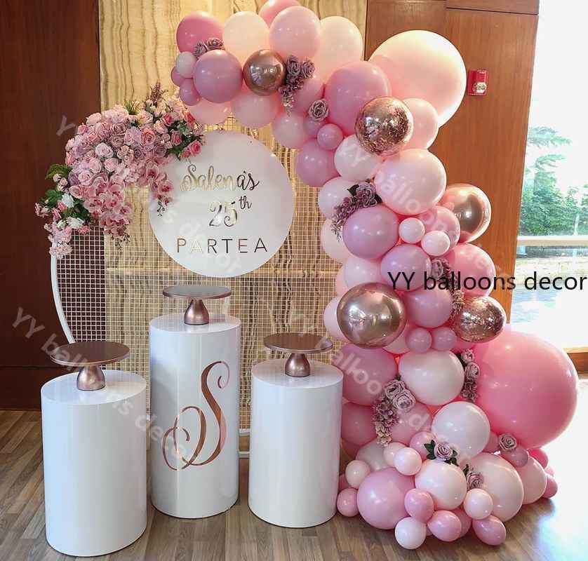 109pcs Balloons Garland Arch Kit Macaron Baby Pink Peach Pastel Rose Gold Birthday Wedding Baby Shower Anniversary Party Decor
