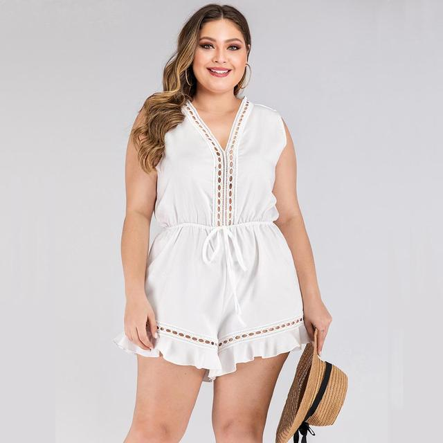 2020 fashion summer plus size jumpsuit for women large sleeveless loose casual V neck short jumpsuits belt white 3XL 4XL 5XL 6XL 5